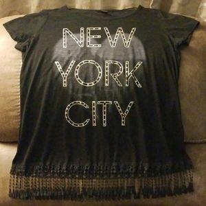 Black t-shirt with fringe XL